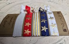 Hair Ties Elastic of July Independence Day Red White Gold Stripes, Stripes Design, Elastic Hair Ties, White Glitter, Ponytail Holders, Star Designs, Red White Blue, Hair And Nails, 4th Of July