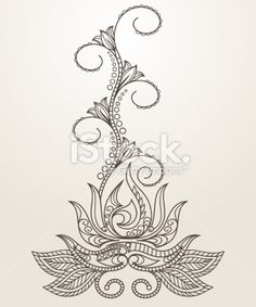 Mehndi Flower Henna Patterns | Hand-drawn Henna Mehndi - аbstract lotus flower Royalty Free Stock ...