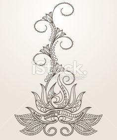 Mehndi Flower Henna Patterns | Hand-drawn Henna Mehndi - аbstract lotus flower Royalty Free Stock ...