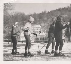 Four Students in a Beginning Skiing Class, 1965 :: Archives & Special Collections Digital Images