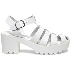 Steve Madden Women's Shofar Platform Wedges Sandals ($50) ❤ liked on Polyvore featuring shoes, sandals, white leather, leather sandals, strappy high heel sandals, wedge sandals, ankle strap sandals and white chunky sandals