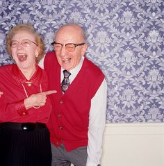 old couple laughing hehe....Laughter is the best in a relationship!