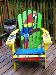 New Hand Painted Adirondack Chairs in the Works! On Sale Spring 2009 on our website. Now taking orders for custom painted chairs. Painted Rocking Chairs, Hand Painted Chairs, Funky Painted Furniture, Recycled Furniture, Rustic Furniture, Outdoor Furniture, Nursery Furniture, Adirondack Chair Plans, Outdoor Chairs
