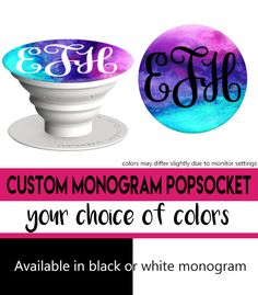 Custom Monogram Popsocket in WaterColor (Your Choice of Monogram Color!)  Get your custom monogram initials now on a cute Popsocket! by savvycraftycute on Etsy