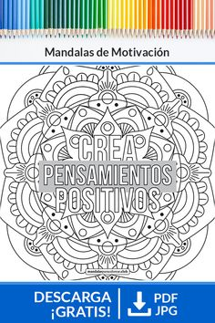 Think Happy Thoughts, To Color, Mandala Coloring, Free Coloring Pages, Bullet Journal, Lettering, Jpg, Black And White, Zentangles