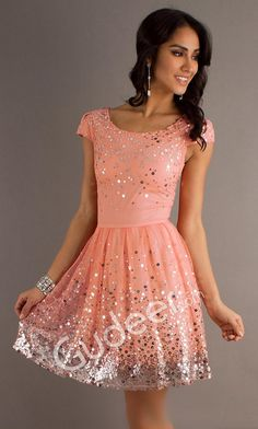 Sequins Coral Short Cocktail Homecoming Dress with Cap Sleeve and V-back from gudeer.com