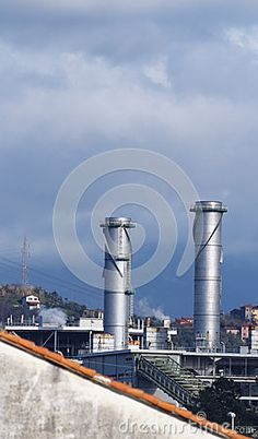 Chemical plant by Leon Viti, via Dreamstime Chemical Plant, Wind Turbine, Industrial, Plants, Tecnologia, Fotografia, Industrial Music, Plant, Planets