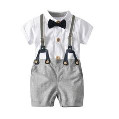 LNGRY Baby Clothes,Toddler Infant Boys Handsome Dinosaur Bowtie Shirt Romper+Suspenders Pants Outfit