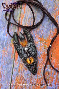 Peace Warrior Amulet 2-Unique Mens Pendant skull dragon eye mystic titanium crystal quartz polymer clay gothic mens jewelry by ChaNoJa