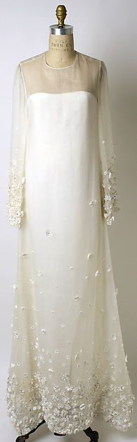 Wedding ensemble - Oscar de la Renta, Ltd. (American, founded 1965)...Interesting silhouette. Try different fabric & embellishments ideas to fit your wedding theme. Ask your dressmaker for ideas to achieve this special look.