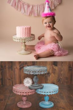 TFJ Designs — Distressed Cake Stand - Cream, Greywash, Red & Blue - Vintage Style - Metal - Cake Smash