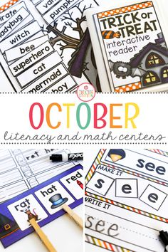 Bring October themed activities to your classroom with these October literacy and math centers. Your learners will practice sight words, rhyming, syllables, counting, addition, and patterns!