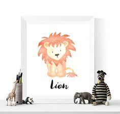 50% OFF Sale Lion Print Lion Watercolor Printable Lions