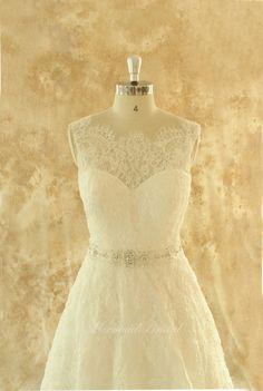 Ivory A line lace wedding dress, bridal gown with elegant beading sash  Handmade by Mermaid Bridal on Etsy