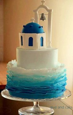 A Santorini cake - would love this for my sister in law also. Santorini is her favourite place Pretty Cakes, Cute Cakes, Beautiful Cakes, Amazing Cakes, Wedding Cake Decorations, Wedding Cakes, Wedding Topper, Fondant Cakes, Cupcake Cakes