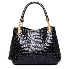 Womens Crocodile Japanned Leather Satchel Shoulder Tote Bags