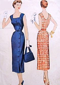 Lovely Side Button Slim Sleeveless Dress Pattern McCall 9737 Perfect Summer Resort Dress Bust 30 Vintage Sewing Pattern
