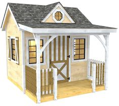 "The ""Loretta"" is a 10x12 garden shed plan w/ whimsical characteristics. A front porch, single dormer and railings make for a great she shed or playhouse."