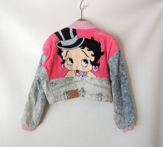 80s Betty Boop Jacket / Boxy Cropped Acid Wash Jacket 80s / Hot Pink Terry Cloth / Too Cute Guetta / King Features Cartoon / Medium Large XL on Etsy, $129.50