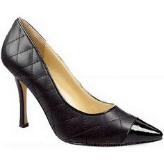 Manolo Blahnik Patent Toe Quilted Pump Black