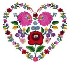 szív alakú minta kalocsai virágokból