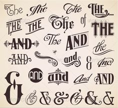 Illustration of vector set ornate hand-lettered thes ands - perfect for headlines, signs or similar graphic projects vector art, clipart and stock vectors. Calligraphy Letters, Typography Letters, Vintage Typography, Lettering Styles, Lettering Design, Typography Inspiration, Graphic Design Inspiration, Vector Logos, Typographie Fonts