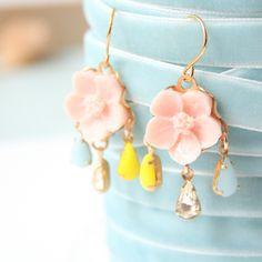 Little Pink Flower Romantic Chandelier Earrings. $25.00, via Etsy.