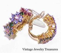 Joan Rivers Crystal Flower Hoop Earrings Pierced New in Box #JoanRivers