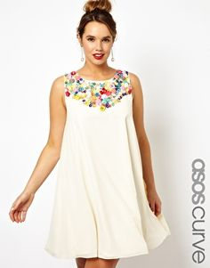 ASOS Curve | ASOS CURVE Exclusive Salon Swing Dress With Embellished Trim at ASOS | love the embellishment