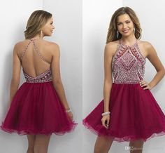 2017 New Short Mini Burgundy Homecoming Dresses 2016 Jewel Neck Illusion Crystal Beaded Sweet 16 Graduation Open Back Party Cocktail Dresses Short Homecoming Dress 2017 Homecoming Dresses Short Party Dress Online with 133.72/Piece on Haiyan4419's Store   DHgate.com