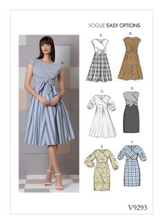 Sewing Patterns Easy Sewing Pattern for Misses' Dress with Many Options, Vogue Pattern Womens Dress Pattern, Easy Sew, - Sewing Pattern for MISSES' DRESS Many Options with this Easy Sew Pattern for Dresses Mock Wrap Bodice with Sleeve, Skirt Dress Sewing Patterns, Vintage Sewing Patterns, Clothing Patterns, Summer Dress Patterns, Skirt Sewing, Skirt Patterns, Mccalls Patterns, Coat Patterns, Blouse Patterns
