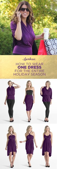 How to wear one dress for the entire holiday season! Breeze through your holiday shopping while wearing this as a top and then treat yourself to a dessert in a dress. This one magical dress can even be worn as a skirt or pants!