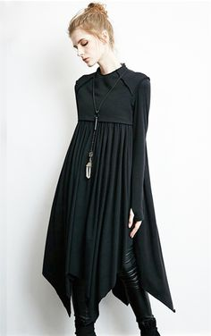 Gothic little black dress from Punk Rave. Oversize dress features a super soft faux cropped t-shirt neckline with a lovely oversize skirt. Made from a cotton polyester blend this dress flares from the bust and creates an awesome shape.