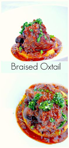 Braised Oxtail With Grilled Polenta And Gremolata Braised Oxtail // #Italian #Classic #Oxtail #Polenta