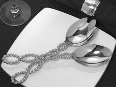 Chrome Beaded Salad Server Set Wedding Favors (TW6217C) Send your grad(s) off with some kitchen tools!