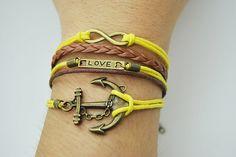 Anchor & Infinity charm cuff bracelet  Retro bronze by Richardwu, $5.99