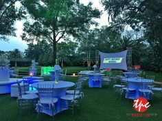 Outdoor Rear Projection Stretch Screen with Wireless LED Uplighting