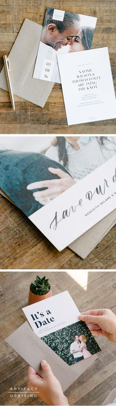@artifactuprsng Save the Dates can be customized on both sides to include a photo and all of the details of your wedding day. Printed on thick premium quality 100% recycled paper.