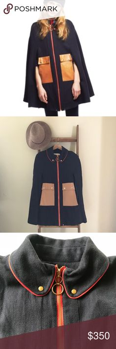 {lauren moffat} navy blue camel coat cape Beautiful piece! I love this so much but rarely get the chance to wear it so off to Posh it must go 💔 Size is xs but is a cape style so any size could wear this (I'm generally a medium and it fits me well!). A few minor flaws, see photo details. lauren moffat Jackets & Coats Capes