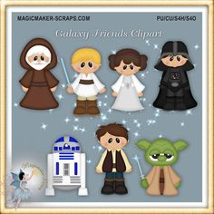 Galaxy friends fantasy clipart party by MagicmakerScraps on Etsy