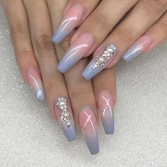 Feb 2020 - 11 Ombré Nude to blue nail art designs - nails Best Acrylic Nails, Acrylic Nail Designs, Nail Art Designs, Gorgeous Nails, Pretty Nails, Ongles Forts, Nails Design With Rhinestones, Nagel Gel, Blue Nails