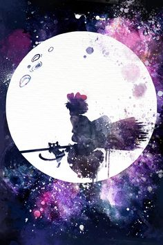 This is a fan art I made for Studio Ghibli's animation Kikis Delivery Service. This is one of my favorite all time animated movies, this piece features Kiki and her cat Jiji flying with her… Art Studio Ghibli, Studio Ghibli Films, Studio Art, Kiki Delivery, Kiki's Delivery Service, Hayao Miyazaki, Watercolor Splatter, Watercolor Painting, Anime Galaxy