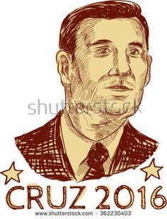 Jan. 14, 2016: Vector illustration of Rafael Edward Ted Cruz, an American senator, politician and Republican 2016 presidential candidate with words Cruz 2016 . - stock vector #Cruz2016 #etching #illustration