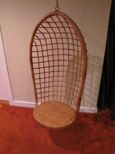 Mid Century Hanging Egg Chair Hanging Rattan Egg by CapeCodModern