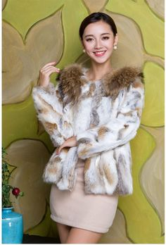 New Real 100% Rabbit Fur RACCOON COLLAR  Women Coat Jacket Overcoat Garment  #Furfox #BasicJacket