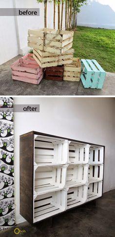 DIY crates storage - crates shelf - upcycled crate