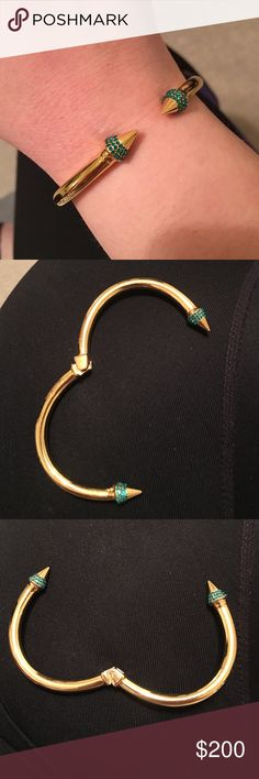 Vita Fede Mini Titan Green Crystal Bracelet Gold Vita Fede bracelet with green crystals. In good condition. Worn only a few times. Some minor scratches. All crystals are in tact. I don't have the original packaging any longer. In size medium. Vita Fede Jewelry Bracelets