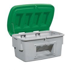 B.18125 - Streugutbehälter aus PE mit Entnahmeöffnung, 100 L, Deckel grün