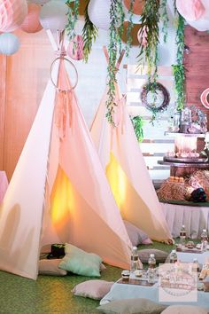 Get your camping outfits ready darlings, because w Bohemian Birthday Party, Bohemian Party, Bohemian Theme, Coachella Party Theme, Sleepover Birthday Parties, Teepee Party, Debut Ideas, Camping Parties, Baby Shower