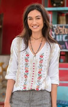 Our embroidered cotton top is a study in disparate yet harmonious elements.